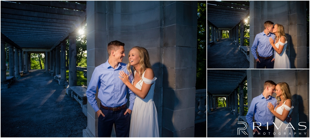 Romantic Spring Engagement Session | Three images of an engaged couple laughing and embracing at Kansas City's Colonnade.
