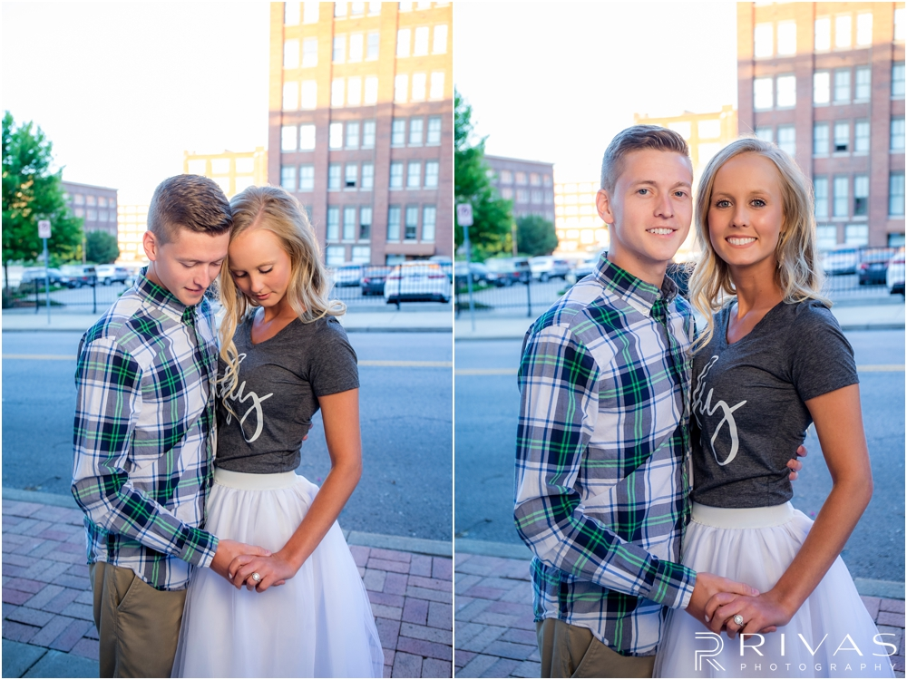 Two pictures of an engaged couple holding hands and smiling at the camera on the streets of downtown Kansas City.