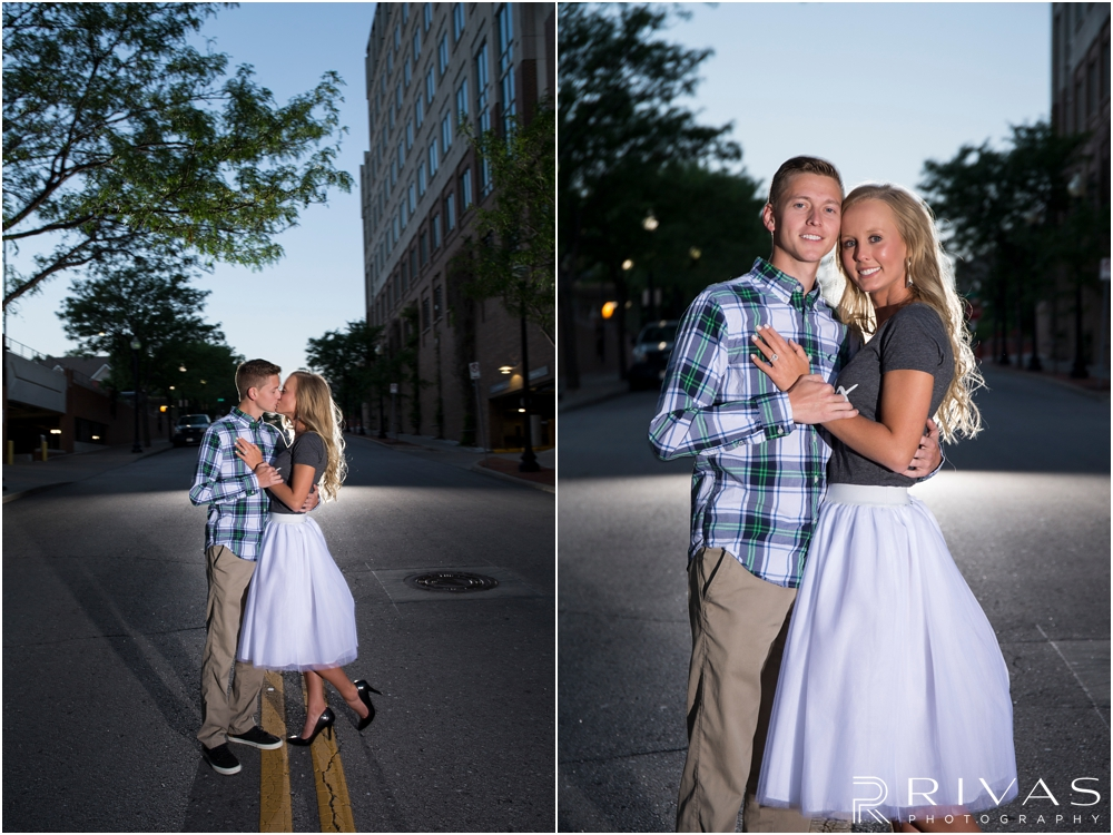 romantic spring engagement session in KC | Two pictures of an engaged man dancing with his fiancé at sunset in the streets of downtown Kansas City.