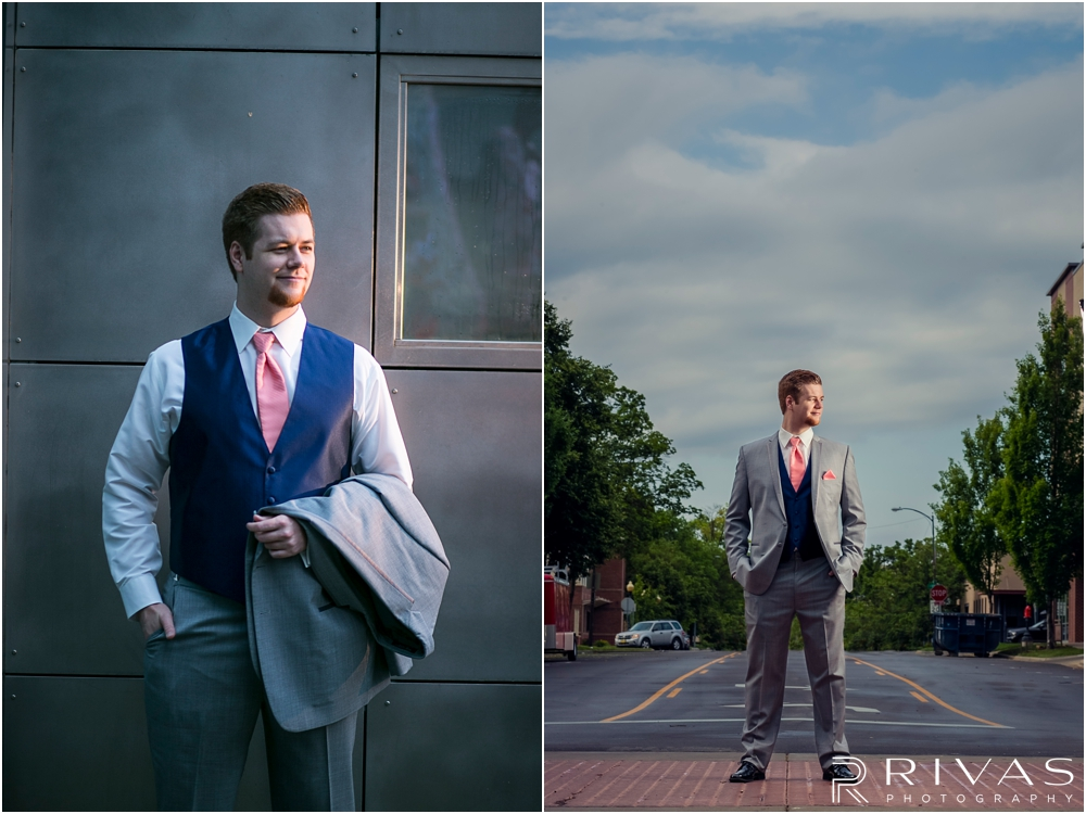 St. John the Evangelist Catholic Church Spring Wedding | Two pictures of a groom in his wedding day tuxedo in downtown Lawrence KS