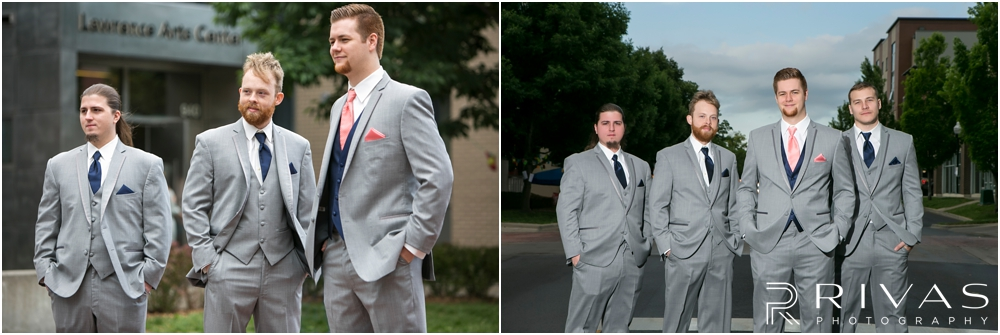 St. John the Evangelist Catholic Church Spring Wedding | Two candid photos of a groom and his groomsmen standing in a Lawrence street.