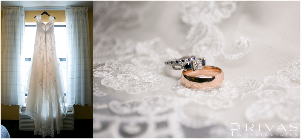 St. John the Evangelist Catholic Church Spring Wedding | Two photos of a bride's wedding gown and engagement and wedding rings.