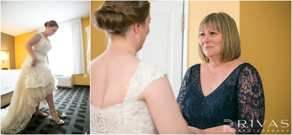 St. John the Evangelist Catholic Church Spring Wedding | Two candid pictures of a bride stepping into her wedding day shoes and of her mother seeing her for the first time.