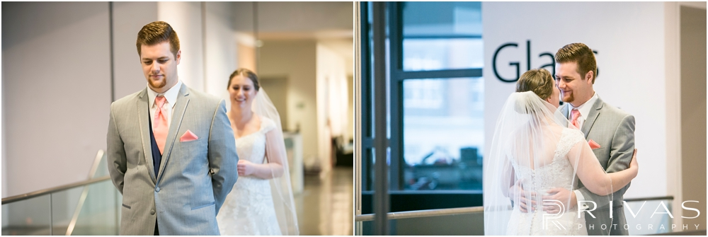 St. John the Evangelist Catholic Church Spring Wedding | Two images of a bride and groom seeing each other for the first time on their wedding day at the Lawrence Arts Center.