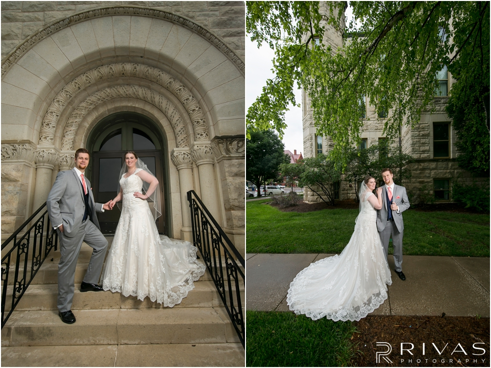 Two photos of a bride and groom embracing outside the courthouse in Lawrence, KS on their wedding day.