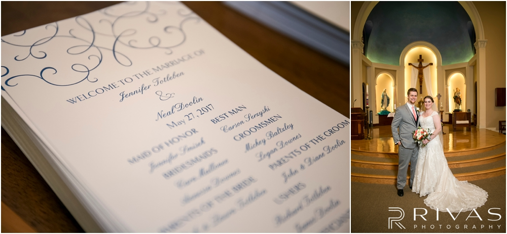 St. John the Evangelist Catholic Church Spring Wedding | A close-up photo of a wedding ceremony program and a formal picture of a bride and groom on their wedding day.