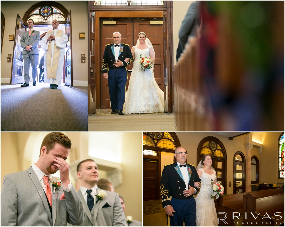 St. John the Evangelist Catholic Church Spring Wedding | A series of four images of a bride and groom walking down the aisle during their wedding ceremony.