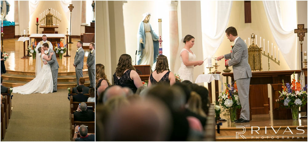 St. John the Evangelist Catholic Church Spring Wedding | Two photos of a bride and groom lighting their unity candle during their wedding ceremony and of their first kiss.