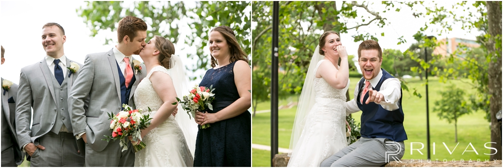 St. John the Evangelist Catholic Church Spring Wedding | Two candid photos of a bride and groom embracing on their wedding day.