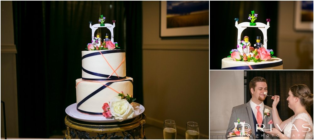 St. John the Evangelist Catholic Church Spring Wedding | Three pictures of a wedding cake with a bride and groom Lego cake topper and candid picture of a bride feeding her groom cake.