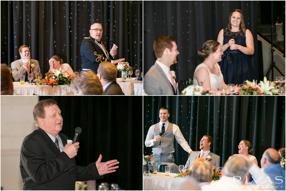 St. John the Evangelist Catholic Church Spring Wedding | Four candid pictures of a bride and groom being toasted during their wedding reception.