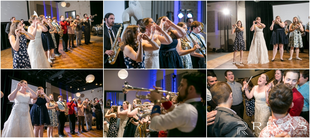 St. John the Evangelist Catholic Church Spring Wedding | Six candid photos of a surprise performance by the KU Pep band at a wedding reception in Lawrence, KS.