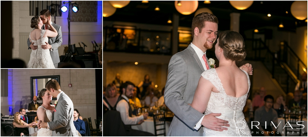 St. John the Evangelist Catholic Church Spring Wedding | Three pictures of a bride and groom sharing their first dance during their wedding reception at Maceli's in Lawrence, KS.