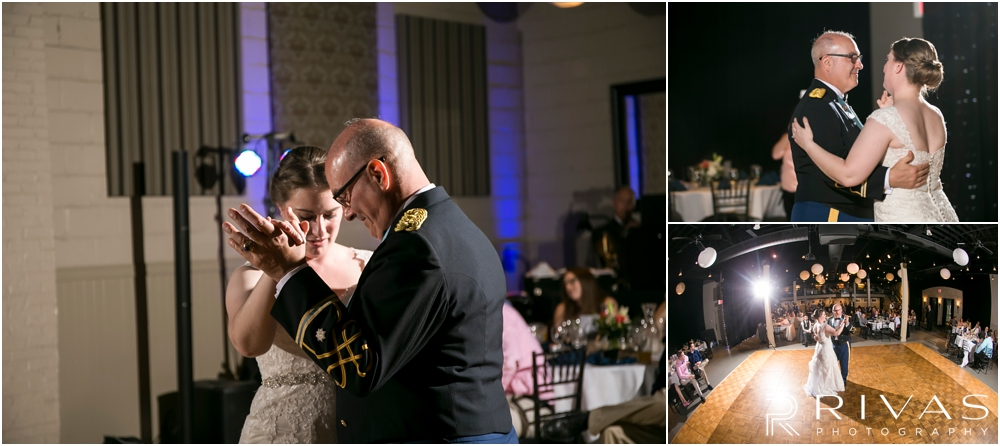 St. John the Evangelist Catholic Church Spring Wedding | Three pictures of a bride and her father dancing during a wedding reception at Maceli's in Lawrence, KS.