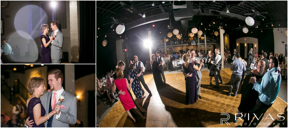 St. John the Evangelist Catholic Church Spring Wedding | Three photos of a groom and his mother dancing during a wedding reception at Maceli's in Lawrence, KS.
