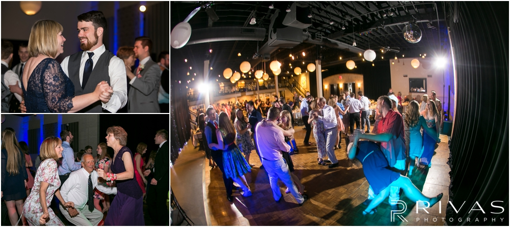 St. John the Evangelist Catholic Church Spring Wedding | Three candid photos of guests dancing and enjoying a wedding reception at Maceli's in Lawrence, KS.