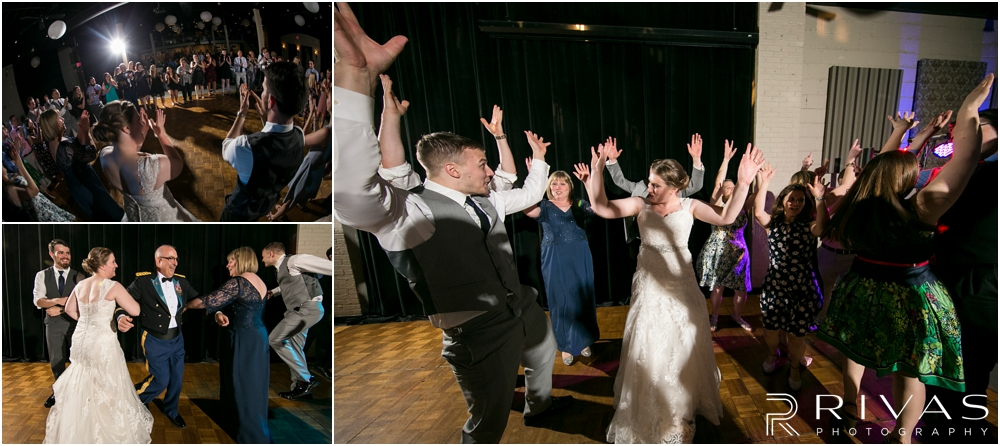 St. John the Evangelist Catholic Church Spring Wedding | Three candid pictures of a bride and groom dancing and enjoying their wedding reception at Maceli's in Lawrence, KS.