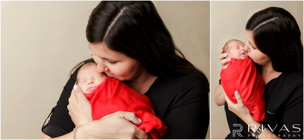 Turquoise Themed Newborn Session | Photo of newborn baby girl wrapped in red blanket with her mom.