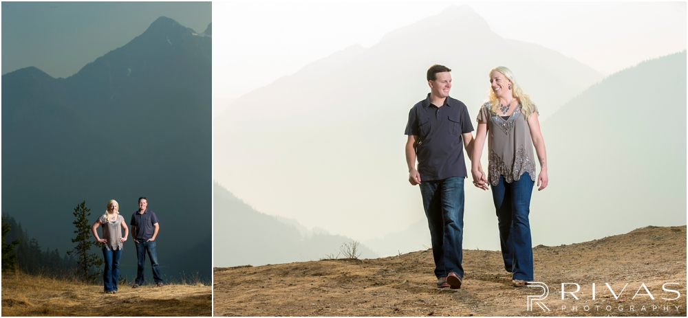 Diablo Lake Engagement Session | Two pictures of an engaged couple holding hands and walking on the mountainside at Diablo Lake, Washington.