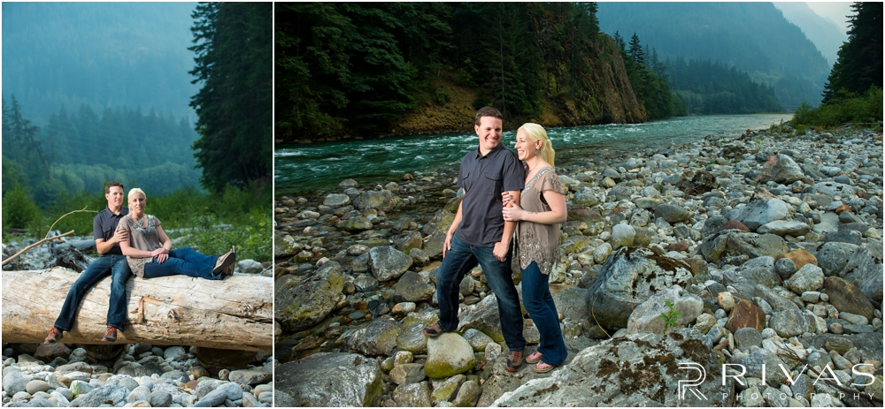 Diablo Lake Engagement Session | Two images of an engaged couple embracing on a rocky beach at Diablo Lake, Washington.