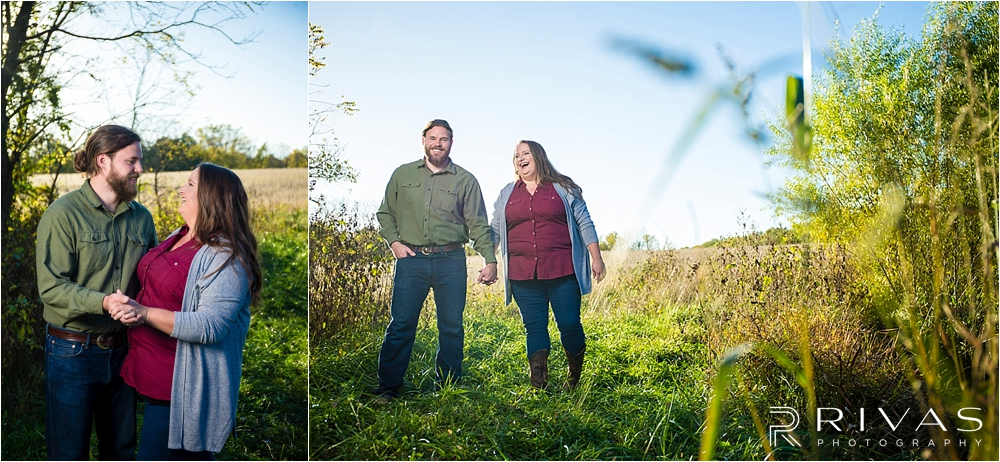 Family Farm Fall Engagement Session | Two photos of an engaged couple holding hands and walking through a field at sunset.