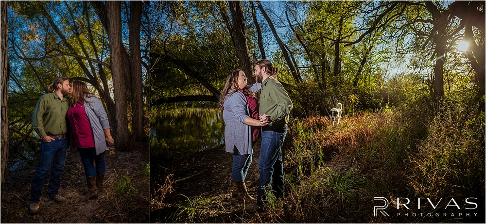 Family Farm Fall Engagement Session | Two pictures of an engaged couple sharing a kiss and embracing while standing in the woods at sunset with their dog running in the background.