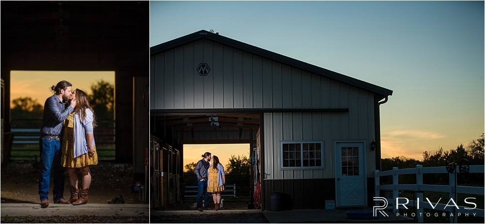 Family Farm Fall Engagement Session | Two picture of an engaged couple standing in the opening of a barn while sun sets behind them.