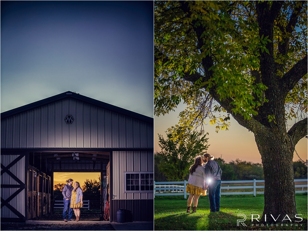 Family Farm Fall Engagement Session | Two dramatic pictures of an engaged couple embracing in a barn opening and under a tree at sunset.