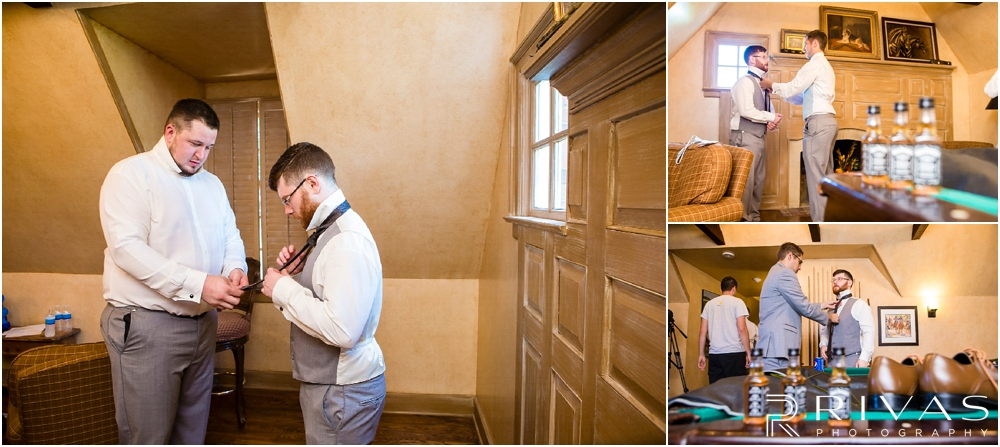 Mildale Farm Summer Wedding | Three pictures of a groom getting dressed for his wedding at Mildale Farm.