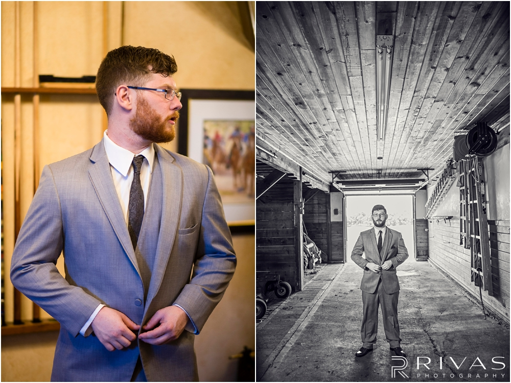 Mildale Farm Summer Wedding | Two photos of a groom in a formal suit at Mildale Farm.