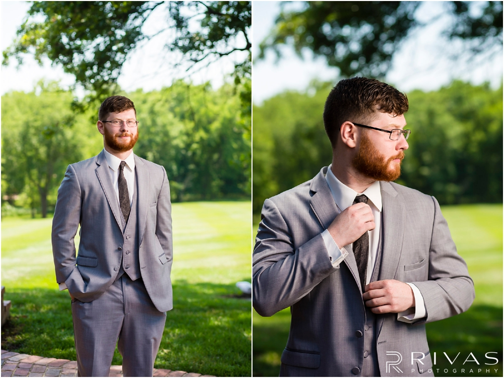 Mildale Farm Summer Wedding | Two formal pictures of a groom in his tuxedo before his summer wedding at Mildale Farm.