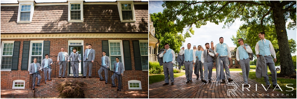 Mildale Farm Summer Wedding | Two images of a groom and his groomsmen in their formal suits before his summer wedding at Mildale Farm.