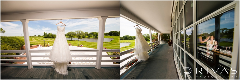 Mildale Farm Summer Wedding | Two images of a wedding dress hanging on the balcony of the house at Mildale Farm.