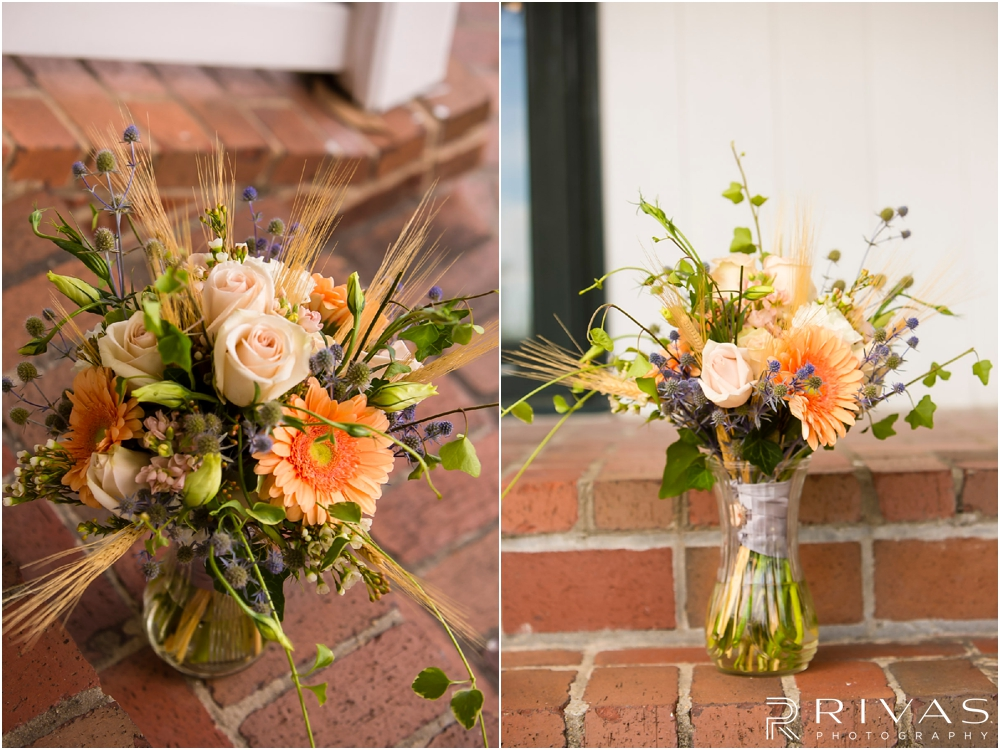 Mildale Farm Summer Wedding | Two detailed pictures of a bride's bouquet including straw, daisies, roses, and ivy at Mildale Farm.
