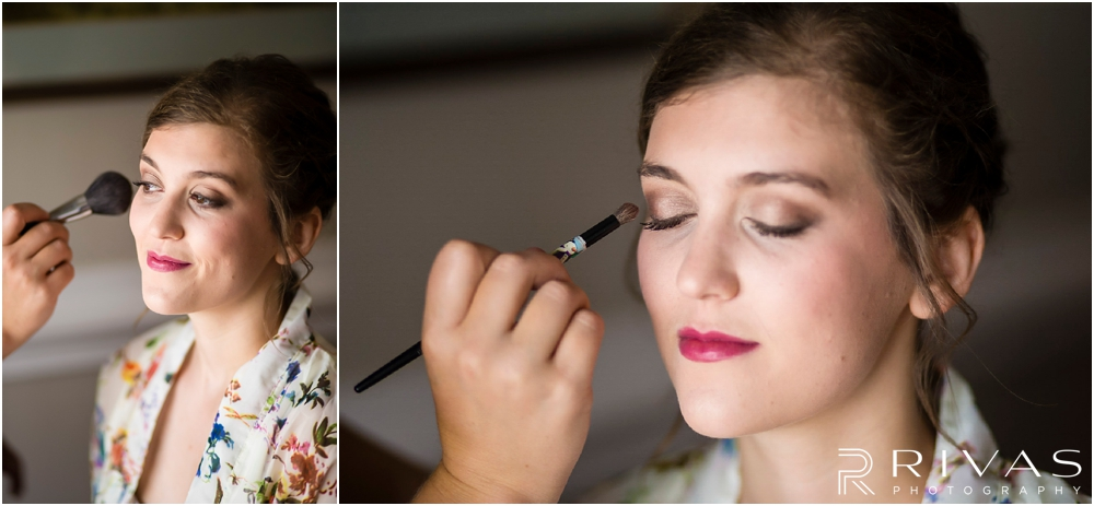 Mildale Farm Summer Wedding | Two pictures of a bride getting her make-up done before her wedding at Mildale Farm.