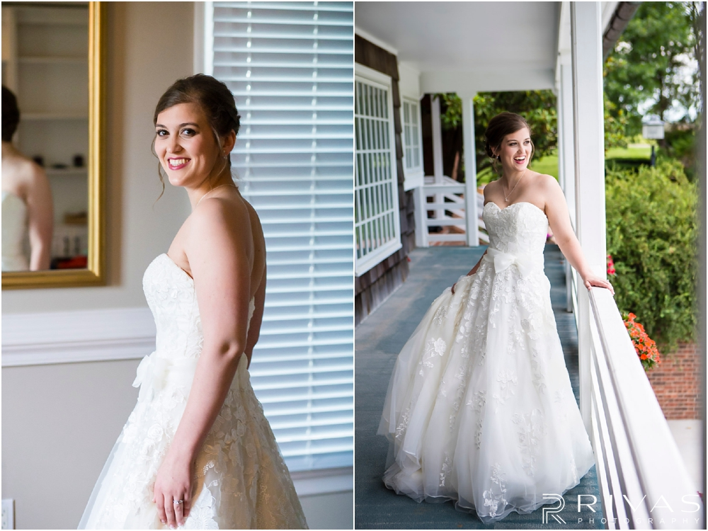 Mildale Farm Summer Wedding | Two portraits of a bride in her wedding gown on the balcony of the house at Mildale Farm before her wedding.
