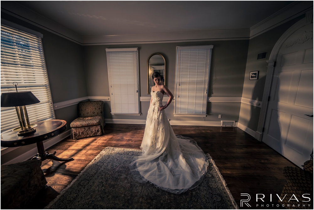 Mildale Farm Summer Wedding | A dramatic picture of a bride in her wedding gown before her summer wedding at Mildale Farm.