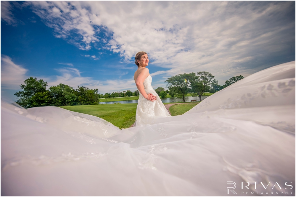 Mildale Farm Summer Wedding | A fun picture of a bride and the train of her gown before her wedding at Mildale Farm.