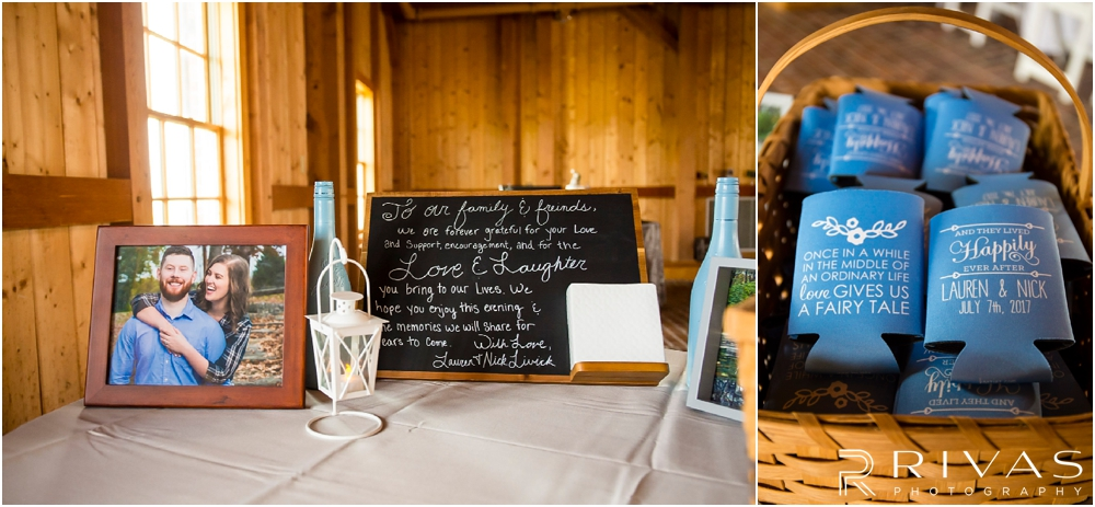 Mildale Farm Summer Wedding | Two close-up photos of the gift table in the barn at a Mildale Farm Summer Wedding.