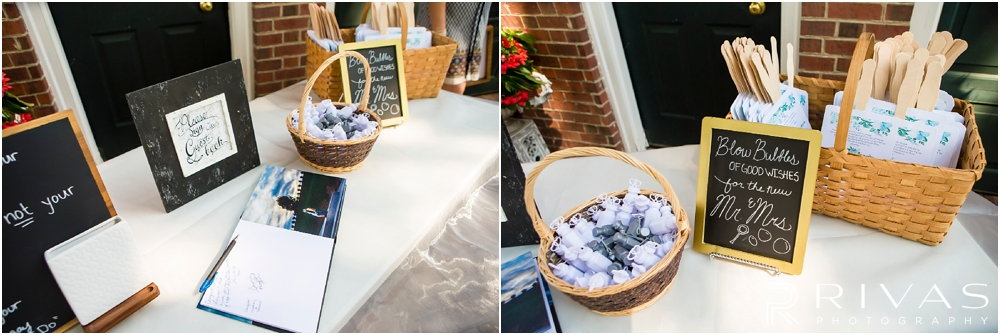 Mildale Farm Summer Wedding | Two detailed photos of a guestbook, bubbles, and custom program fans  sitting on tables before a summer wedding at Mildale Farm.