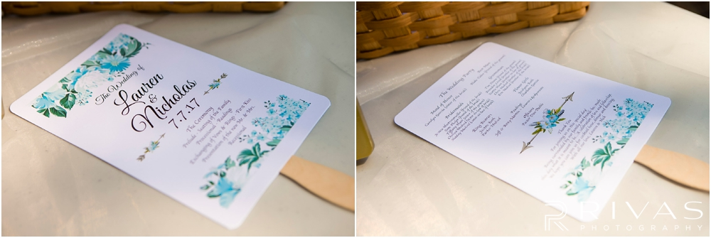 Mildale Farm Summer Wedding | Two detailed photos of custom program fans sitting on a table before a summer wedding at Mildale Farm.