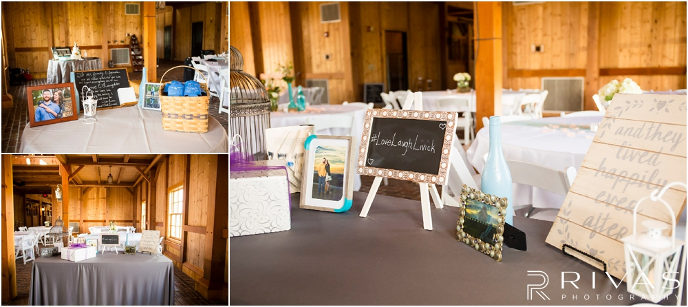 Mildale Farm Summer Wedding | Three close-up images of the gift table in the barn at a Mildale Farm Summer Wedding.
