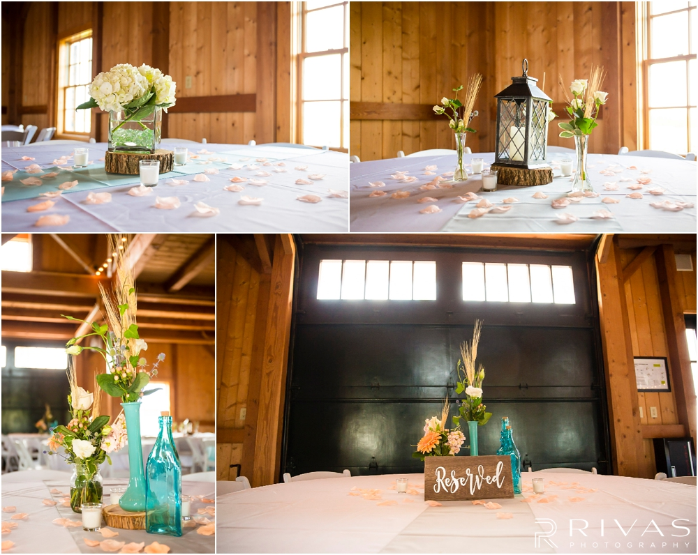 Mildale Farm Summer Wedding | Four close-up pictures of table centerpieces and decor during a summer wedding ceremony at Mildale Farm.