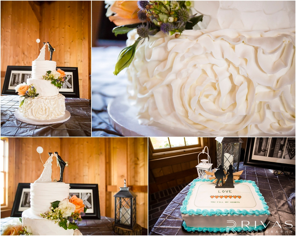 Mildale Farm Summer Wedding | Four close-up photos of a white, buttercream covered wedding cake and a white groom's cake during a summer wedding reception at Mildale Farm.