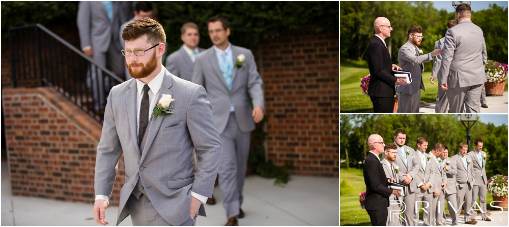 Mildale Farm Summer Wedding | Three candid photos of a groom walking down the aisle and waiting for his bride to walk down the aisle at his summer Mildale Farm Wedding.