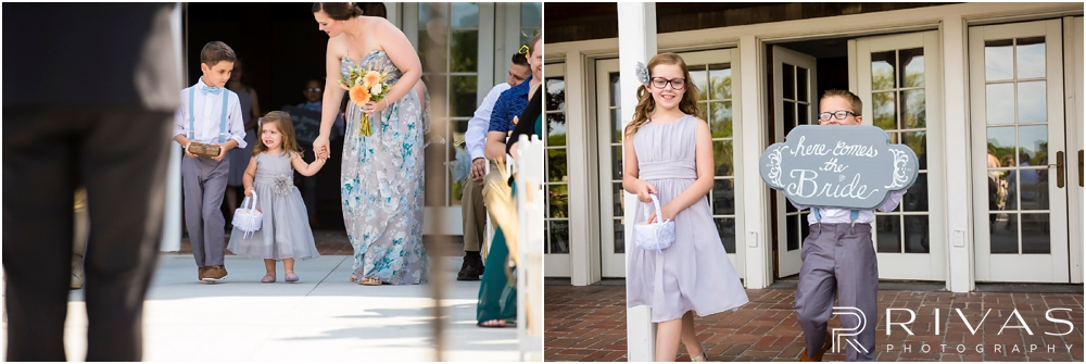 Mildale Farm Summer Wedding | Two candid pictures of flower girls and ring bearers walking down the aisle during a summer wedding at Mildale Farm.