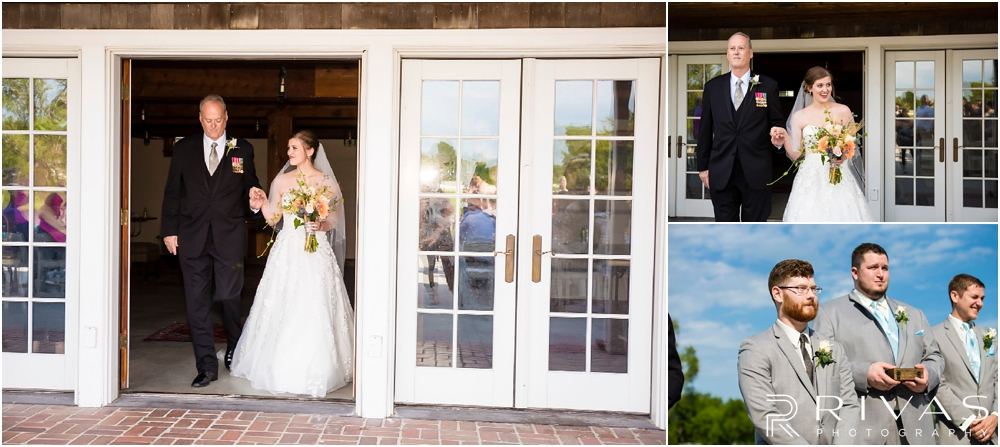 Mildale Farm Summer Wedding | Three candid images of a bride and her father walking down the aisle during her summer wedding at Mildale Farm.