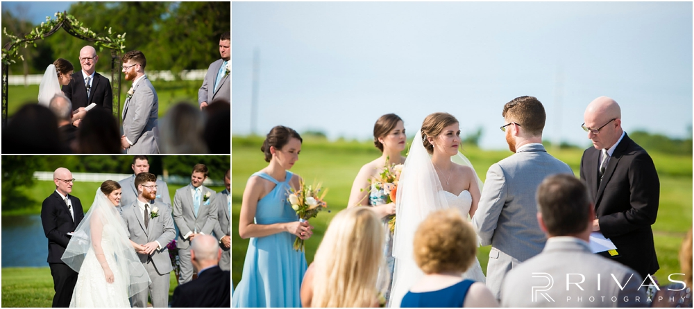 Mildale Farm Summer Wedding | Three candid photos of a bride and groom exchanging vows during a summer wedding at Mildale Farm.