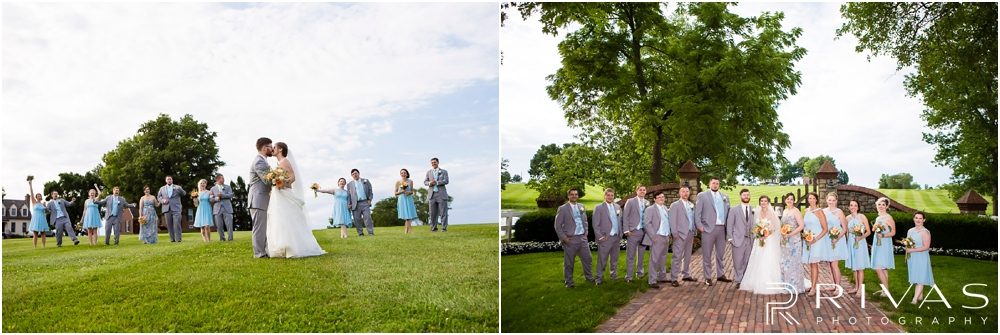 Mildale Farm Summer Wedding |Two candid photos of a bride and groom with their wedding party on the grounds of Mildale Farm after their summer wedding.