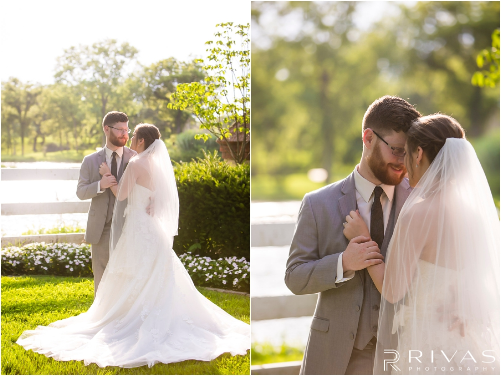 Mildale Farm Summer Wedding |Two pictures of a bride and groom embracing after their summer wedding at Mildale Farm.
